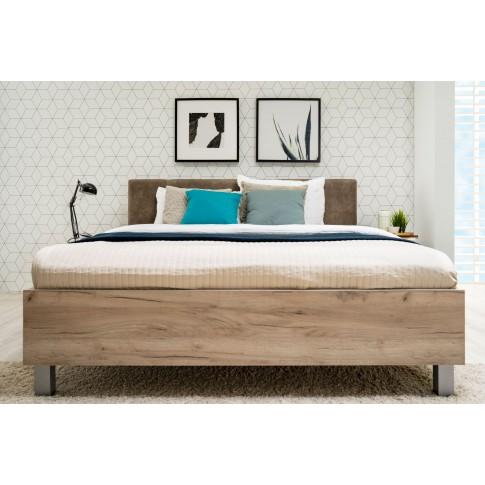 Pat dormitor Canon, matrimonial, tapitat, stejar gri + maro, 160 x 200 cm, 4C