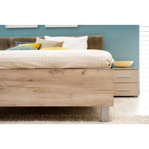 Pat dormitor Canon, matrimonial, tapitat, stejar gri + maro, 180 x 200 cm, 5C