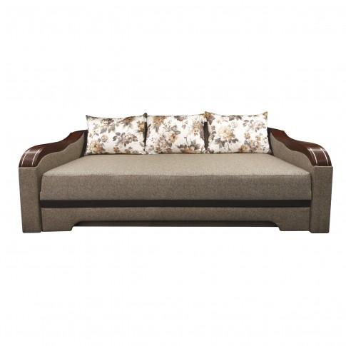 Canapea extensibila 3 locuri Bianca, cu lada + ornament, crem + maro, 230 x 106 x 80 cm, 4C
