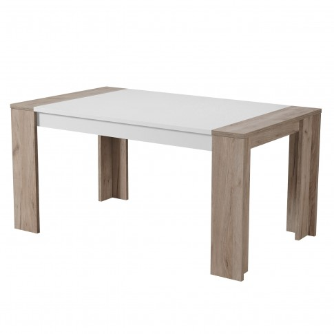 Masa bucatarie fixa Cremona TS, dreptunghiulara, 6 persoane, stejar gri + alb, 154 x 90.5 x 75 cm, 2C
