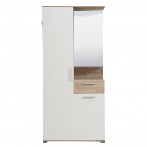 Cuier hol Bolsena cu doua agatatori, oglinda, dulap si comoda, stejar gri + alb, 2 usi, 905 x 350 x 1990 mm, 2C