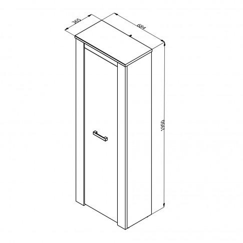 Dulap hol Kent P1, cu o agatatoare si rafturi, stejar alb + stejar gri, o usa, 685 x 365 x 1950 mm, 2C