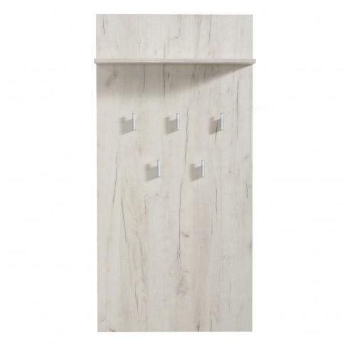 Cuier hol pentru perete Kent CIV cu 5 agatatori si polita, stejar alb, 670 x 195 x 1370 mm, 1C