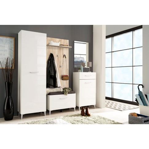 Dulap hol Como P1, cu o agatatoare si rafturi, alb + alb  lucios, o usa, 580 x 350 x 1950 mm, 2C