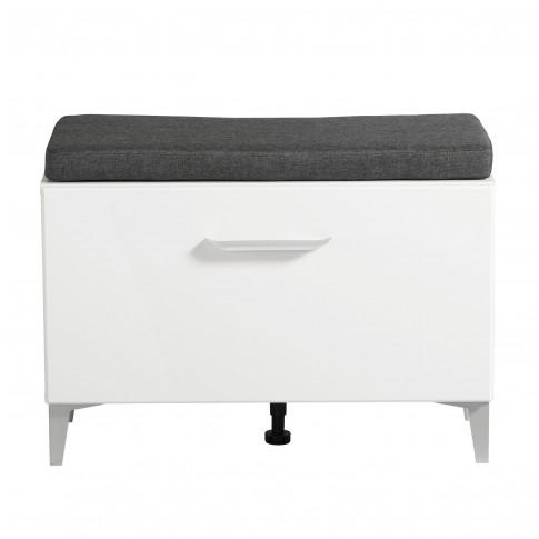Bancheta hol Como KOM, cu o usa, alb mat + folie lucioasa alba, 74.5 x 35 x 53 cm, 2C