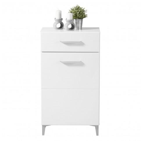 Comoda hol Como 1K1F, cu usa + sertar, alb mat + folie lucioasa alba, 58 x 35 x 104.5 cm, 2C
