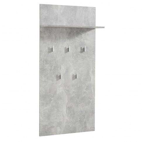 Cuier hol pentru perete Como CIV cu 5 agatatori si polita, beton, 670 x 195 x 1370 mm, 1C