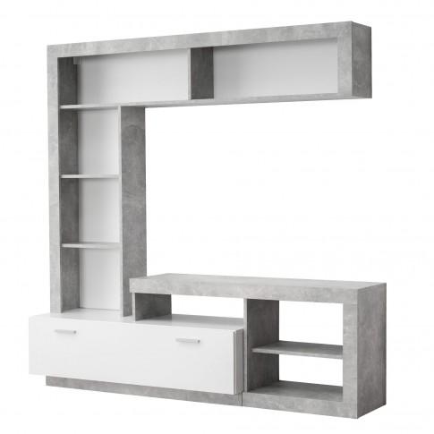 Biblioteca living Glen, beton + alb mat, 170.5 cm, 2C