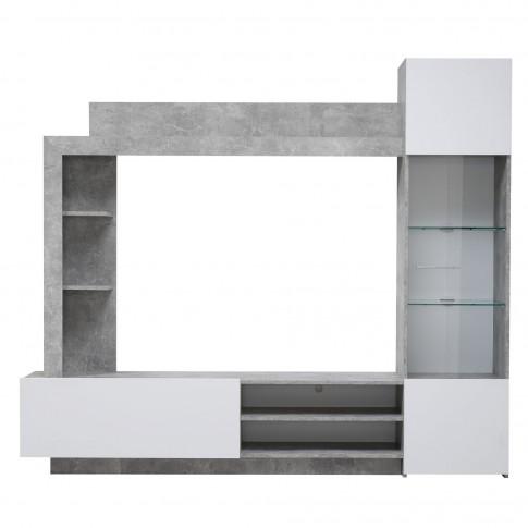 Biblioteca living Toto, beton + alb, 204 cm, 2C