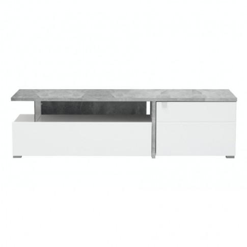 Comoda TV Fortuna, alb mat + beton + folie lucioasa alba, 160.5 x 40 x 44.5 cm, 1C