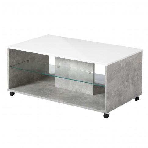 Masuta living Bert, dreptunghiulara, beton + folie lucioasa alba, 101 x 60 x 45 cm, 1C