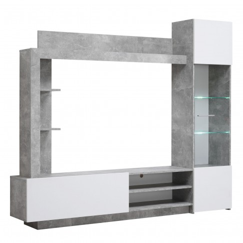 Biblioteca living Toto, cu lumini, beton + alb, 204 cm, 3C