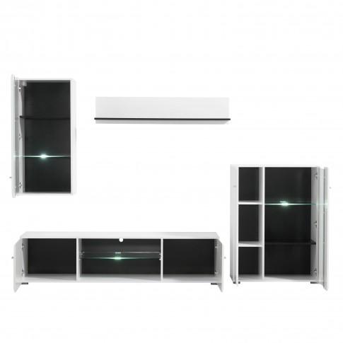 Biblioteca living Prato, cu lumini, alb mat + negru + folie lucioasa alba, 264 cm, 4C