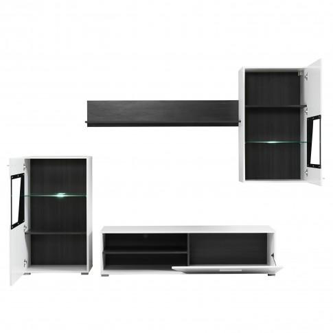 Biblioteca living Lens, cu lumini, alb mat + lemn negru + folie lucioasa alba, 245 cm, 4C