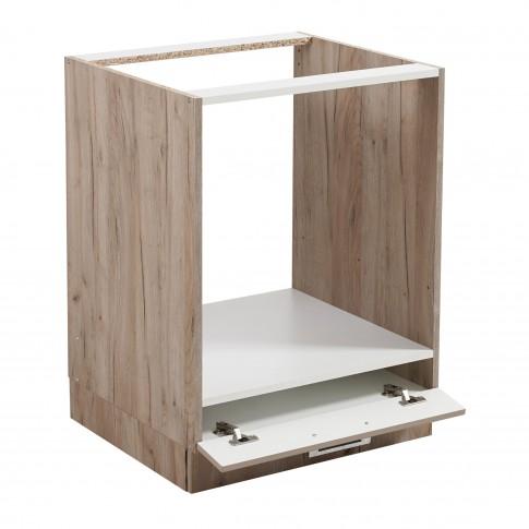 Corp inferior bucatarie Diana D60 UR, cu blat, pentru cuptor, stejar gri + alb + folie lucioasa nisip, 60 x 60 x 85 cm, 2C