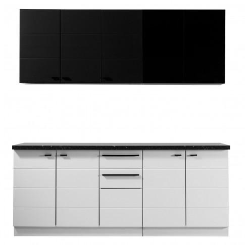 Bucatarie Claudia, alb + negru, 200 cm, 5C