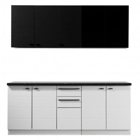 Bucatarie Claudia, alb mat + negru + folie lucioasa alba + folie mata neagra, 260 cm, 8C