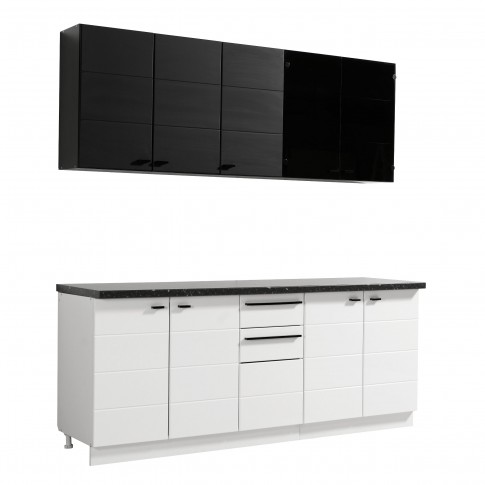 Bucatarie Claudia, alb + negru, 260 cm, 8C