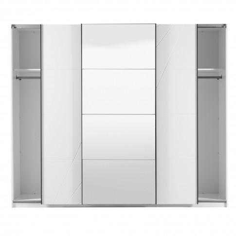 Dulap dormitor Ksanti 270 U, alb mat + folie lucioasa alba, 3 usi glisante, cu oglinda, 262.5 x 64.5 x 222 cm, 10C