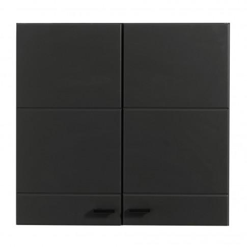 Bucatarie Claudia, alb mat + negru + folie lucioasa alba + folie mata neagra, cu lumini, 260 cm, 9C