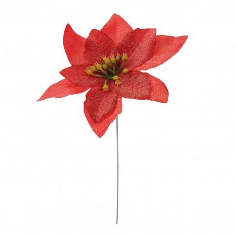 Decoratiune Craciun, tip floare, rosie, 13 cm, SYH19-001