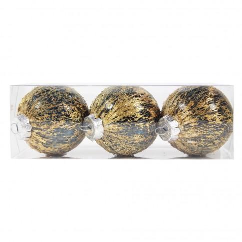 Globuri Craciun, albastru + auriu, D 8 cm, set 3 bucati, SYQD-011958