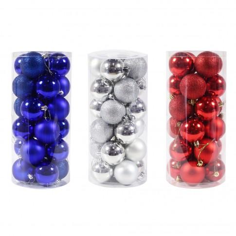 Globuri Craciun, diverse culori, D 6 cm, set 24 bucati, SYQD-0119150