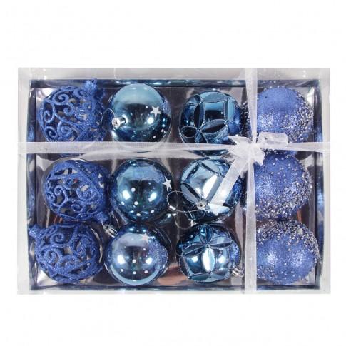 Globuri Craciun, albastre, D 8 cm, set 12 bucati, SYQ19S-001
