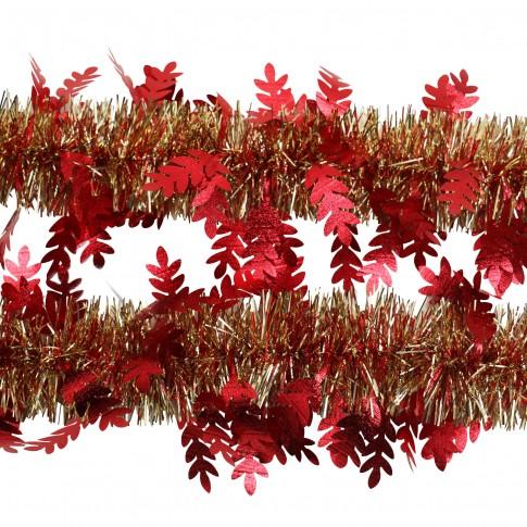 Beteala brad Craciun, rosu + auriu, SYMTA-171966, D 8 cm, 2 m