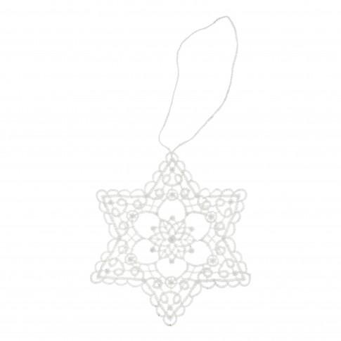 Decoratiune Craciun, tip stea, alba, 9.5 x 11 cm, SYMZ-231901
