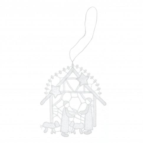 Decoratiune Craciun, tip iesle, alba, 11 x 12 cm, SYMZ-231902