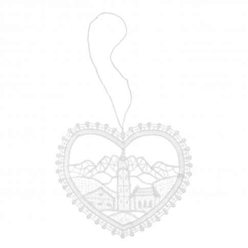 Decoratiune Craciun, tip inima, alba, 9 x 11.5 cm, SYMZ-231905