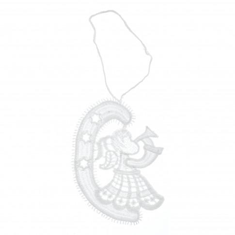 Decoratiune Craciun, tip ingeras, alba, 8.5 x 11 cm, SYMZ-231906