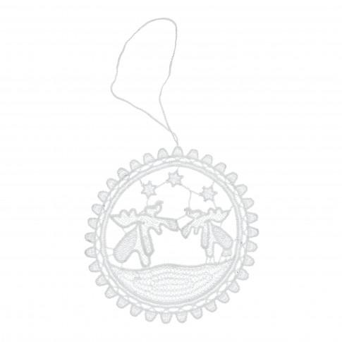 Decoratiune Craciun, rotunda, alba, 11 x 11.5 cm, SYMZ-231917