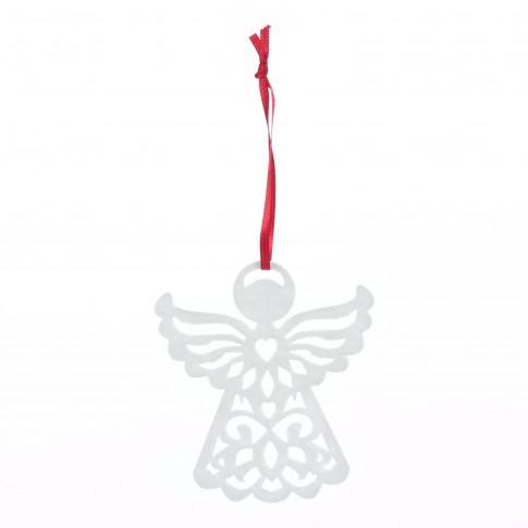 Decoratiune Craciun, tip inger, alba, 8 x 9 cm, SYMZ-2319142