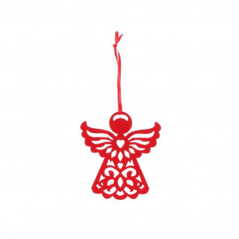 Decoratiune Craciun, tip inger, rosie, 8 x 10 cm, SYMZ-2319143