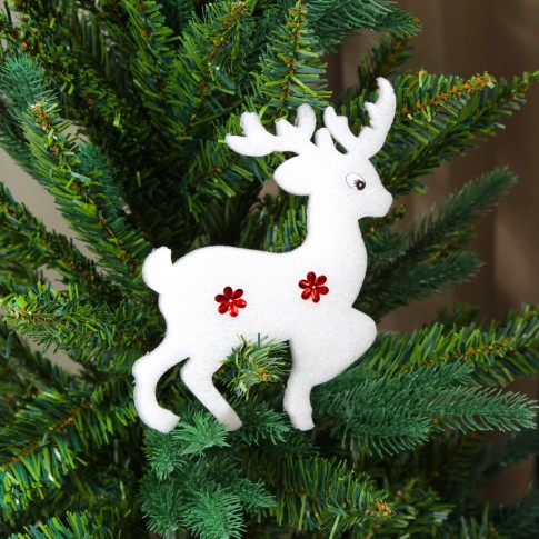 Figurina decorativa Craciun, tip ren, alb + rosu, 10.5 x 14.5 cm, set 2 bucati, SYXHP-281903