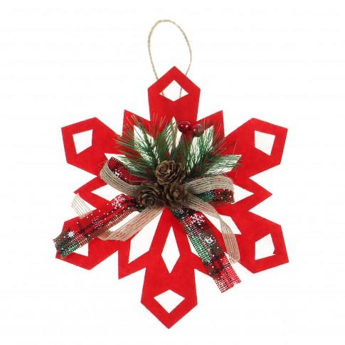Decoratiune Craciun, tip stea, rosu + alb, 20 cm, SYXHP-281944