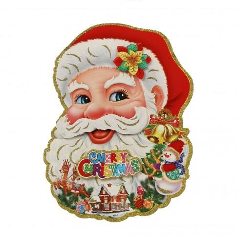 Decoratiune Craciun, sticker Mos Craciun, multicolor, 25.5 x 34 cm, SYTH-302020