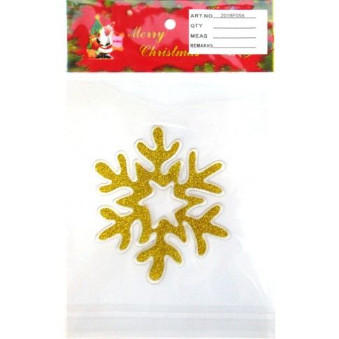 Decoratiune Craciun, sticker fulg de zapada, diverse culori, 15 x 23 cm, SYBXT-311927