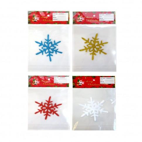 Decoratiune Craciun, sticker fulg de zapada, diverse culori, 15 x 23 cm, SYBXT-311930