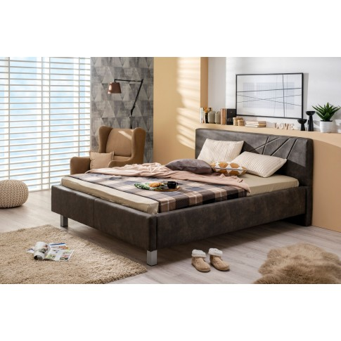 Pat dormitor Falco, matrimonial, tapitat, gri, 160 x 200 cm, 3C