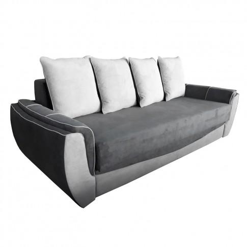 Canapea extensibila 3 locuri Venezia, cu lada, gri deschis + gri inchis, 245 x 105 x 100 cm, 3C
