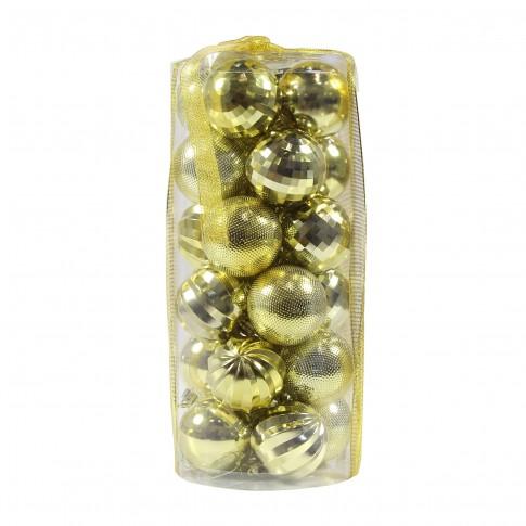 Globuri Craciun, aurii, D 6 cm, set 24 bucati, SD18-6-A1