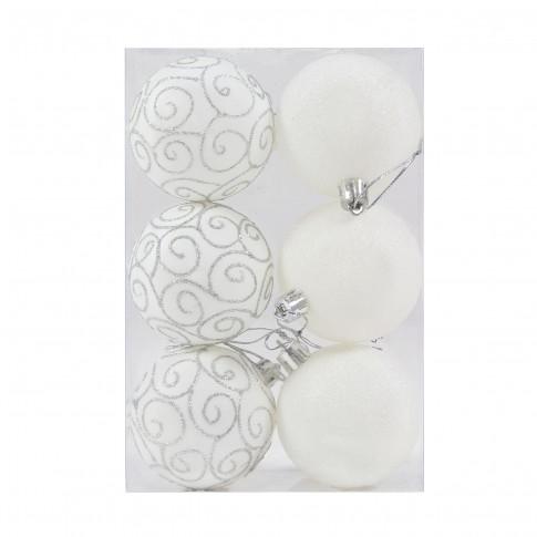 Globuri Craciun, albe, D 6 cm, set 6 bucati, SD18-6-K1