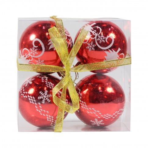 Globuri Craciun, rosii, D 8 cm, set 4 bucati, SD18-8-1D4