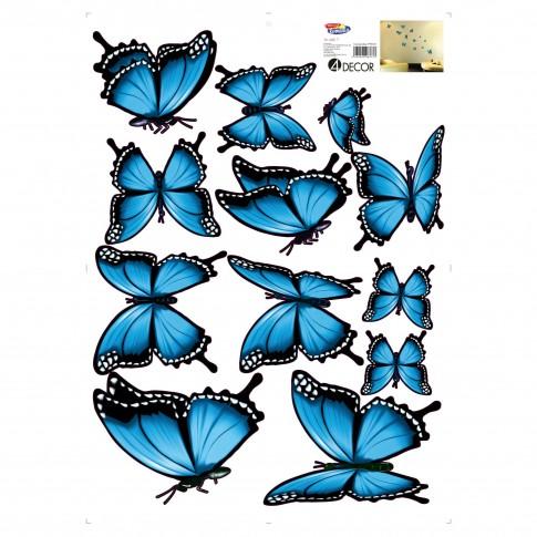 Sticker decorativ perete, camera copii, Fluturi albastri, 50 x 70 cm