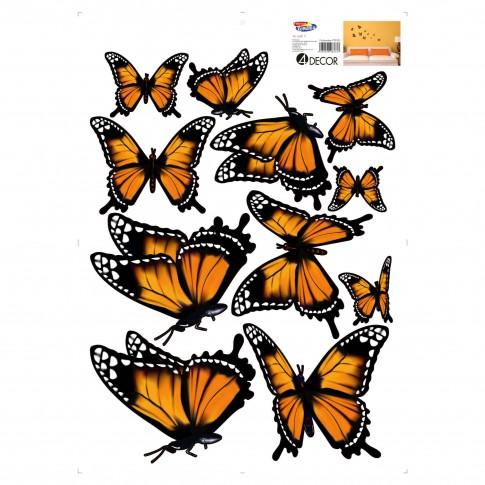 Sticker decorativ perete, camera copii, Fluturi portocalii, PT3122 TR, 50 x 70 cm