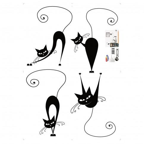 Sticker decorativ perete, living, Pisici, PT3010 TR, 50 x 70 cm