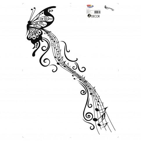 Sticker decorativ perete, hol, Fluturele muzical, PT3112 TR, 50 x 70 cm
